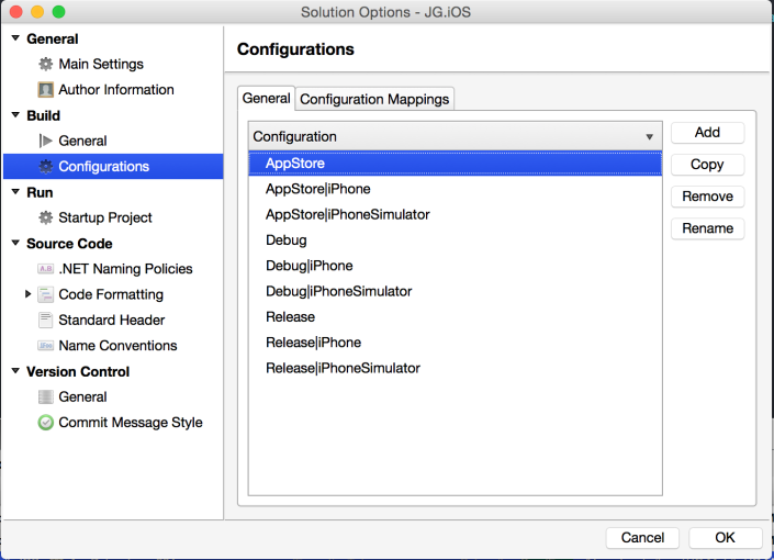 Solution Configuration Options